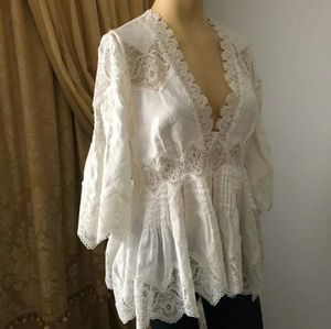 Zimmermann White Linen Crocheted